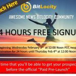 Final Bitlocity Pre-Launch UPDATE and Granted 24 Hr Extension